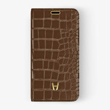 Brown Alligator iPhone Folio Case for iPhone XS Max finishing yellow gold - Hadoro Luxury Cases