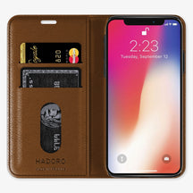 Cognac Alligator iPhone Folio Case for iPhone XS Max finishing yellow gold - Hadoro Luxury Cases