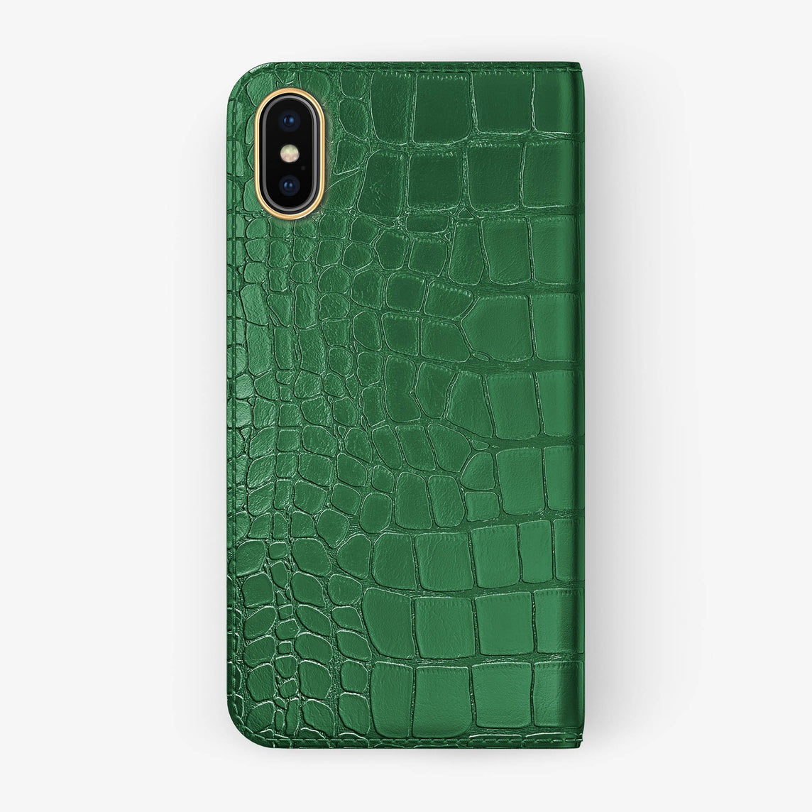 Green Alligator iPhone Folio Case for iPhone X finishing yellow gold - Hadoro Luxury Cases
