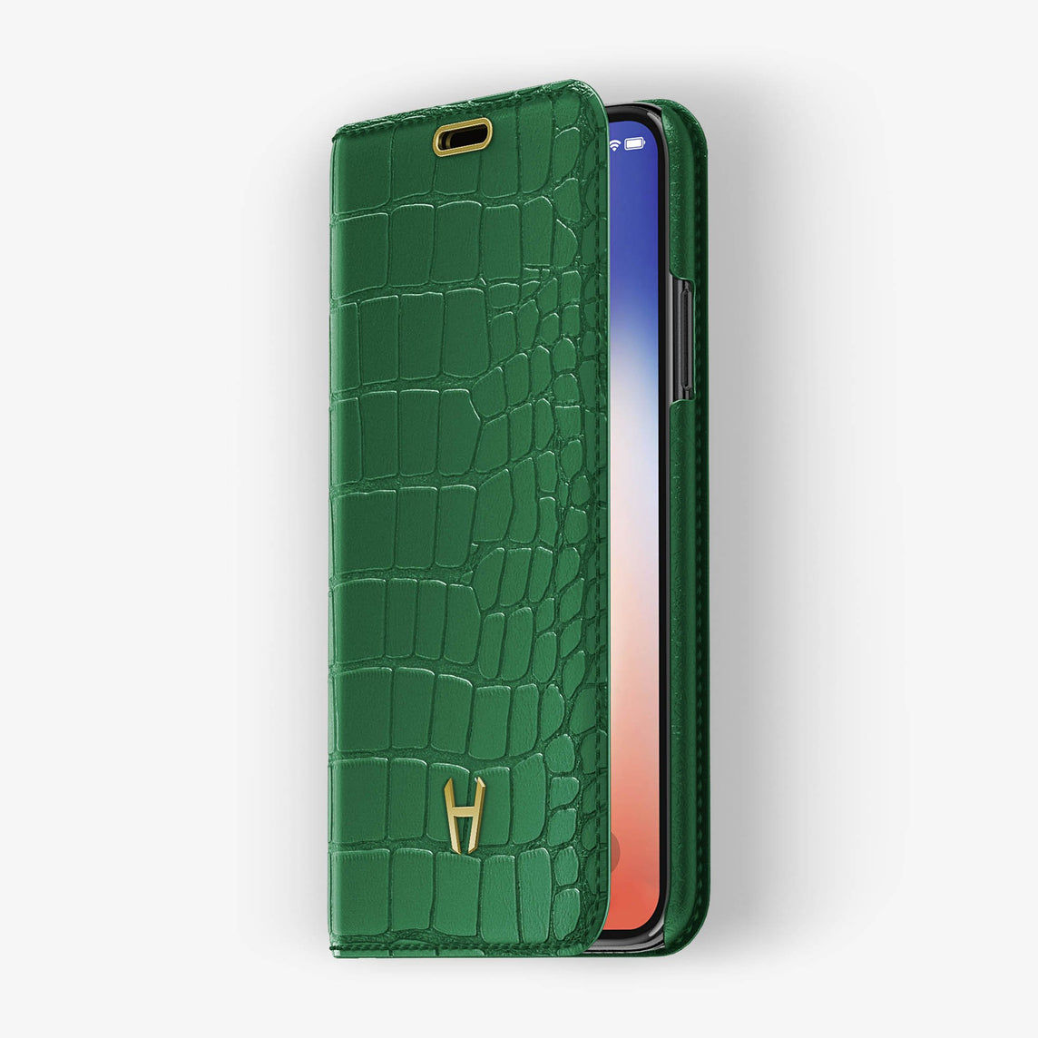 Alligator [iPhone Folio Case] [model:iphone-xr-case] [colour:green] [finishing:yellow-gold]