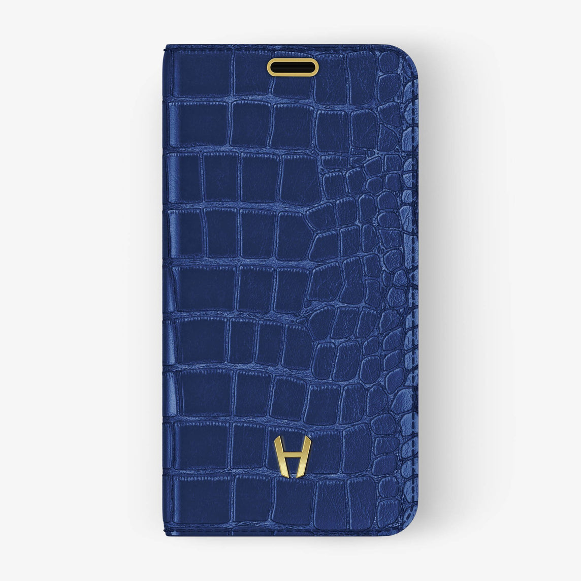 Navy Blue Alligator iPhone Folio Case for iPhone X finishing yellow gold - Hadoro Luxury Cases