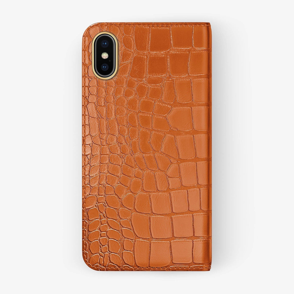 Orange Alligator iPhone Folio Case for iPhone XS Max finishing yellow gold - Hadoro Luxury Cases