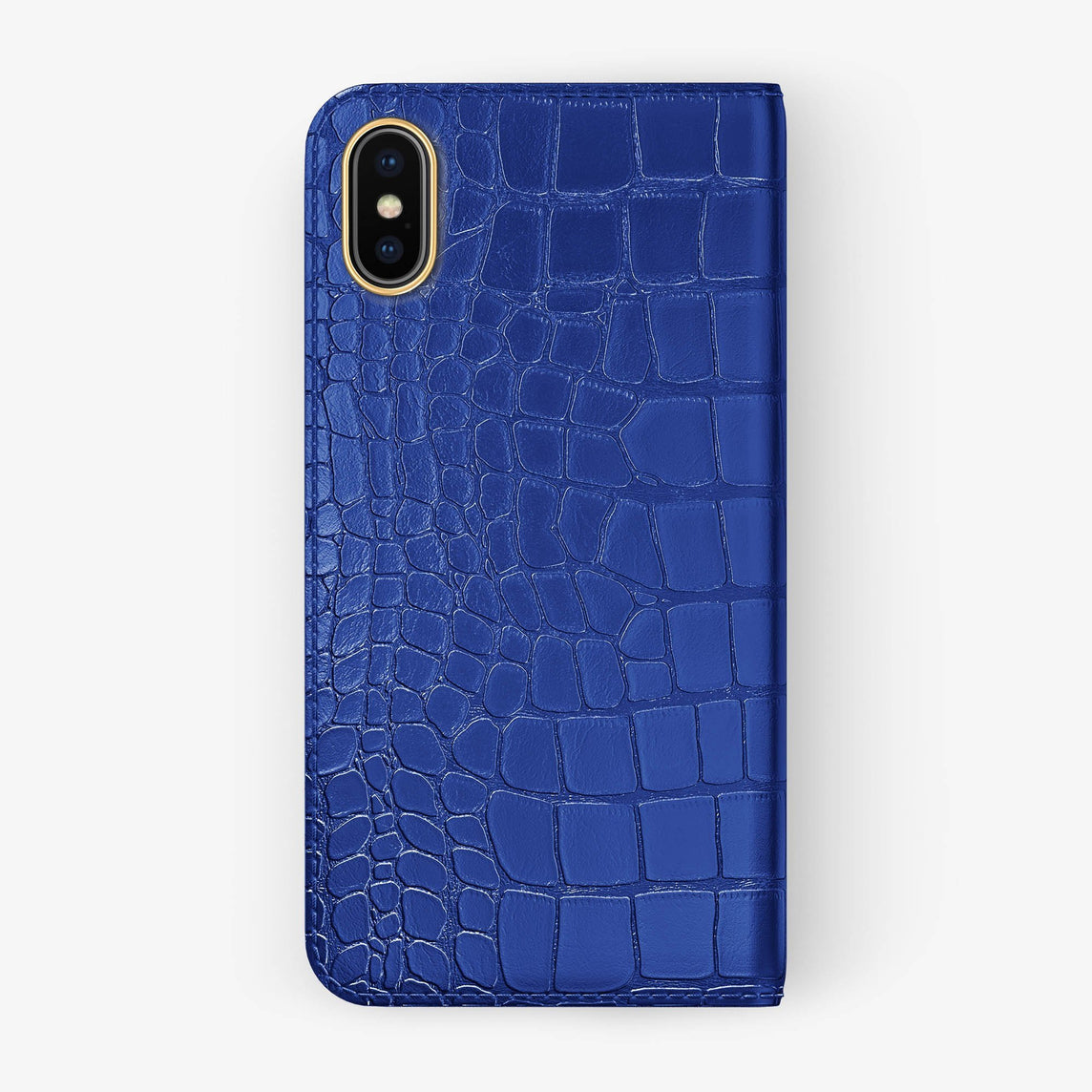 Alligator Folio Case iPhone X/Xs | Peony Blue - Yellow Gold without-personalization