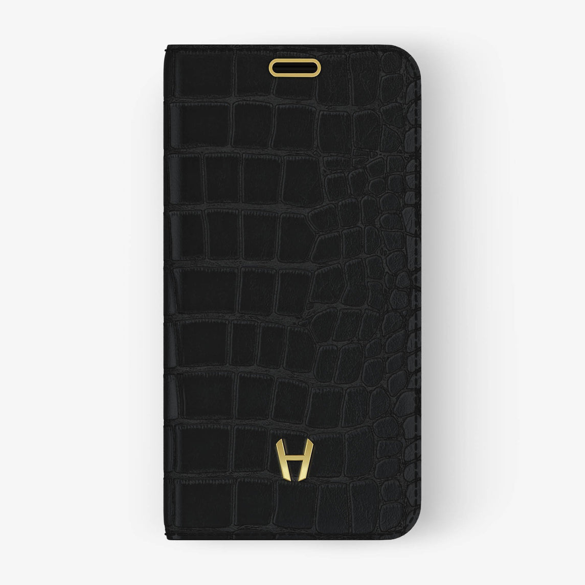 Phantom Black Alligator iPhone Folio Case for iPhone XS Max finishing yellow gold - Hadoro Luxury Cases