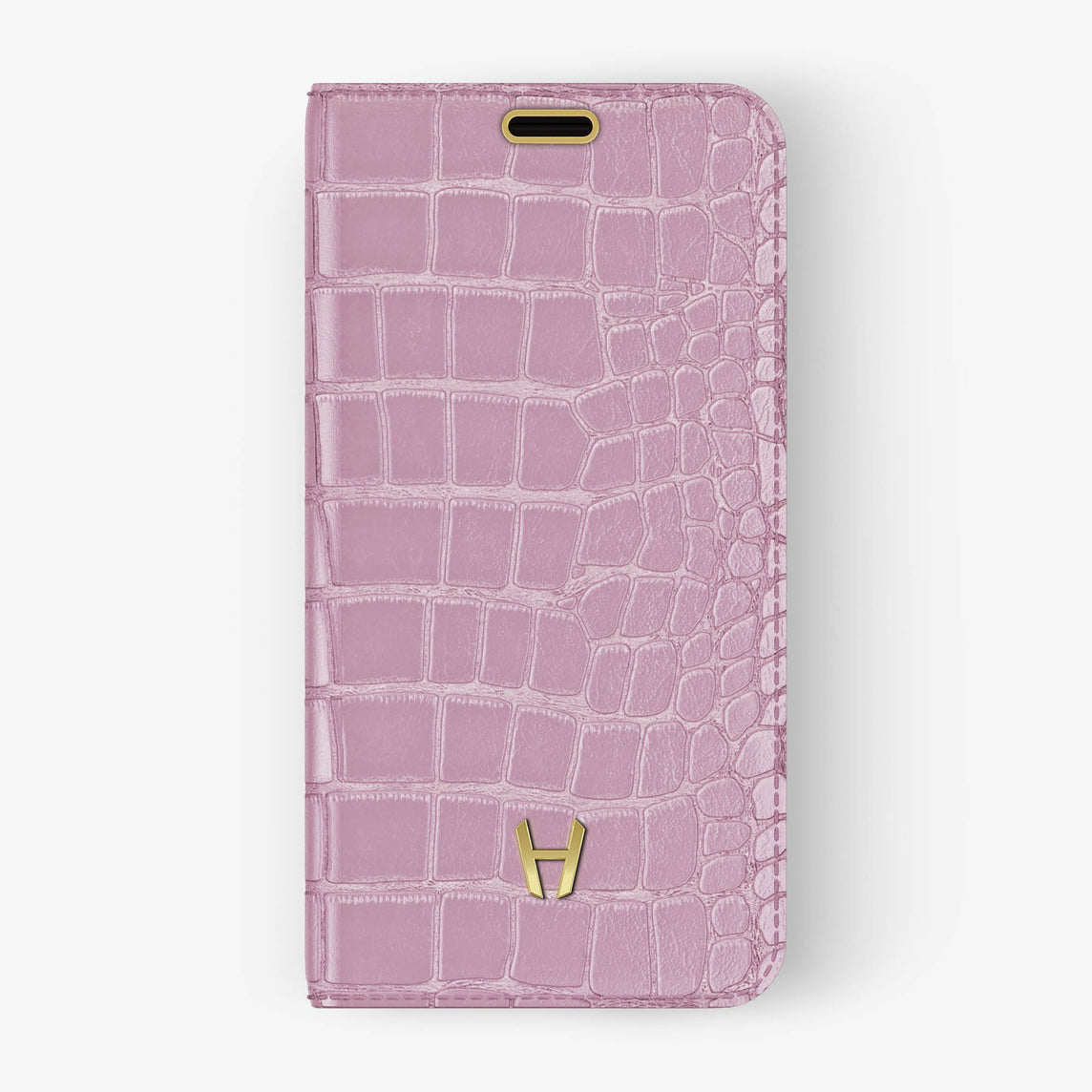 Pink Alligator iPhone Folio Case for iPhone XS Max finishing yellow gold - Hadoro Luxury Cases