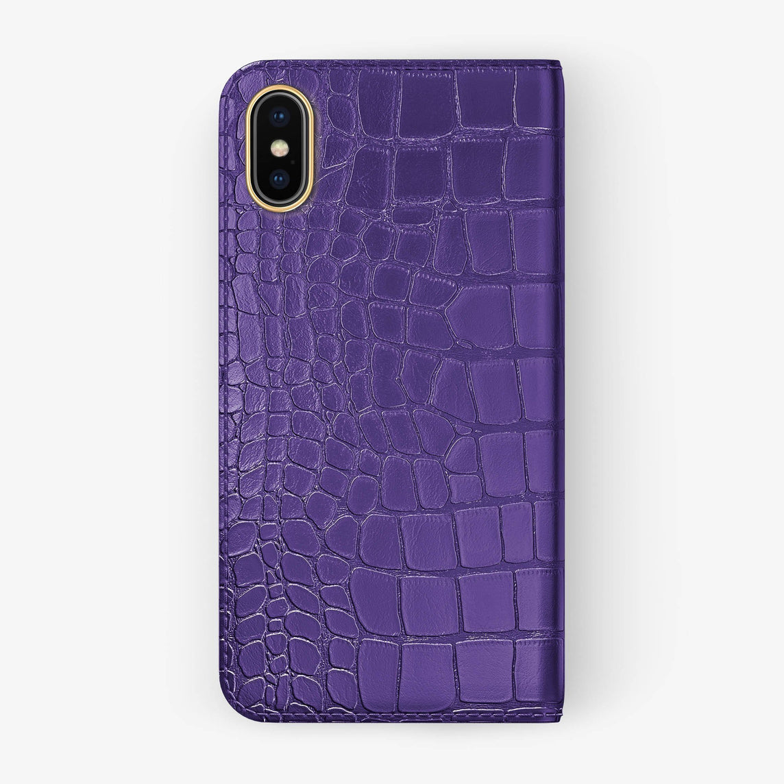 Alligator Folio Case iPhone Xs Max | Purple - Yellow Gold without-personalization