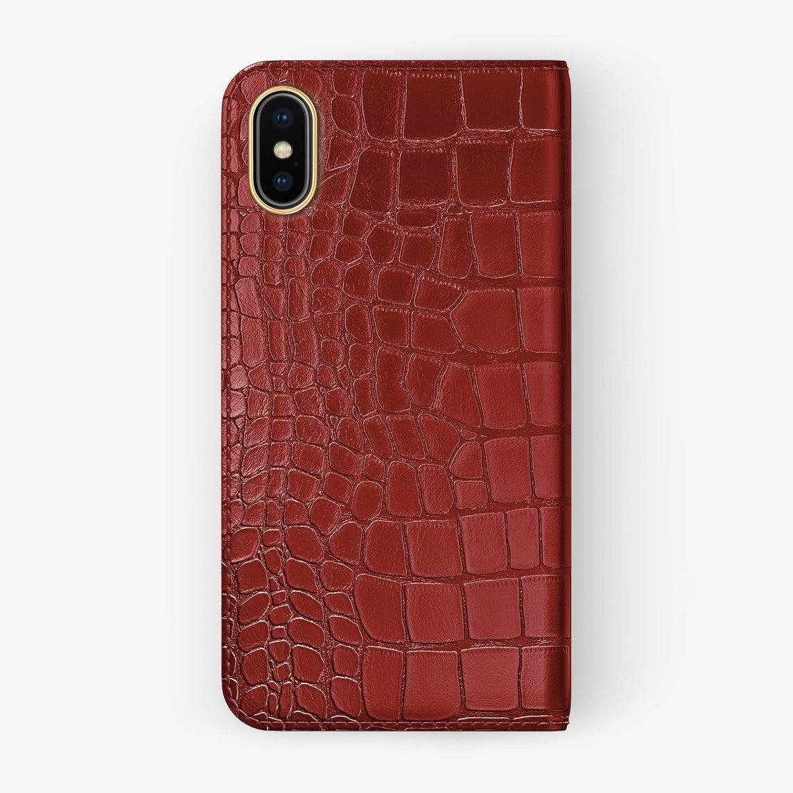 Red Alligator iPhone Folio Case for iPhone X finishing yellow gold - Hadoro Luxury Cases