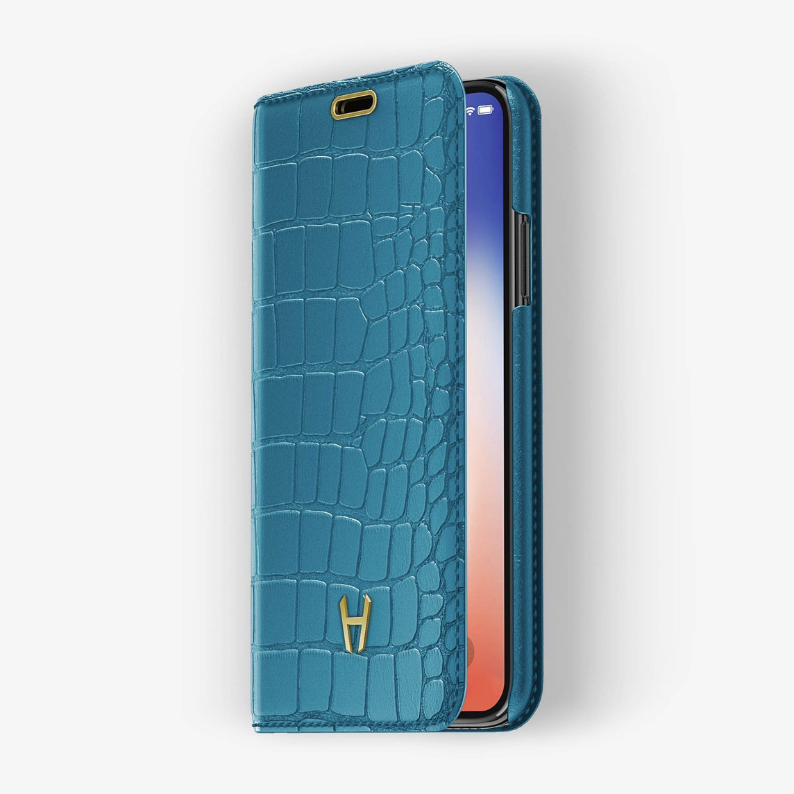Alligator Folio Case iPhone Xs Max | Teal - Yellow Gold without-personalization