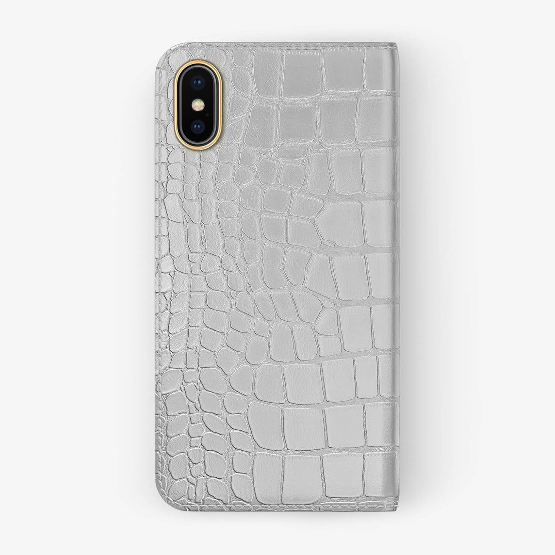 White Alligator iPhone Folio Case for iPhone X finishing yellow gold - Hadoro Luxury Cases