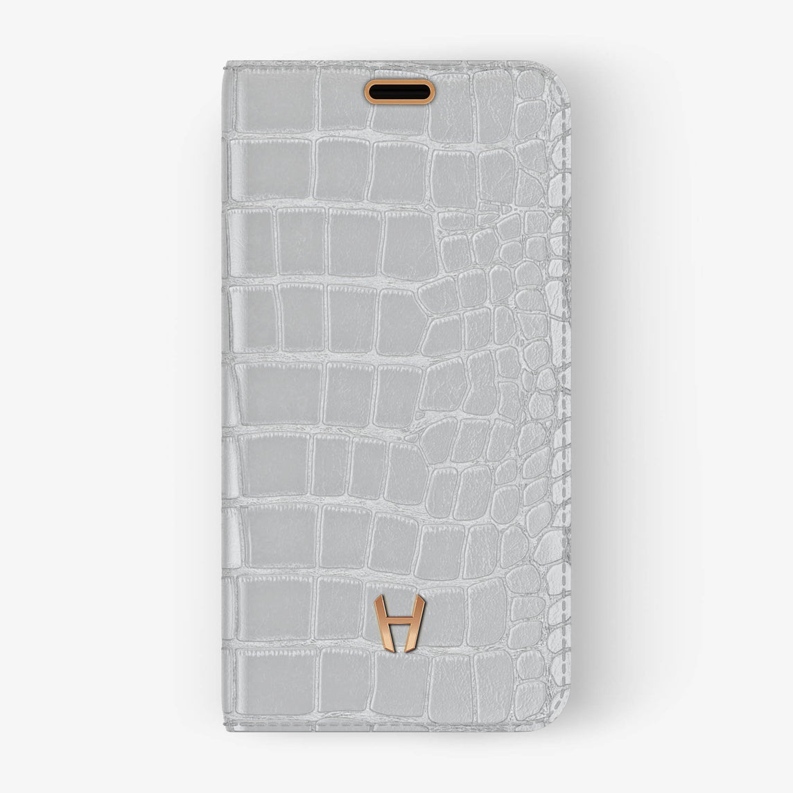 Alligator [iPhone Folio Case] [model:iphone-xr-case] [colour:white] [finishing:rose-gold]