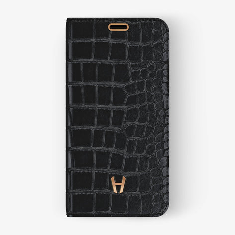 Alligator Folio Case iPhone X/Xs | Black - Rose Gold without-personalization