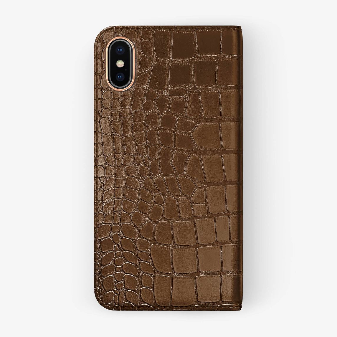 Alligator Folio Case iPhone X/Xs | Brown - Rose Gold without-personalization