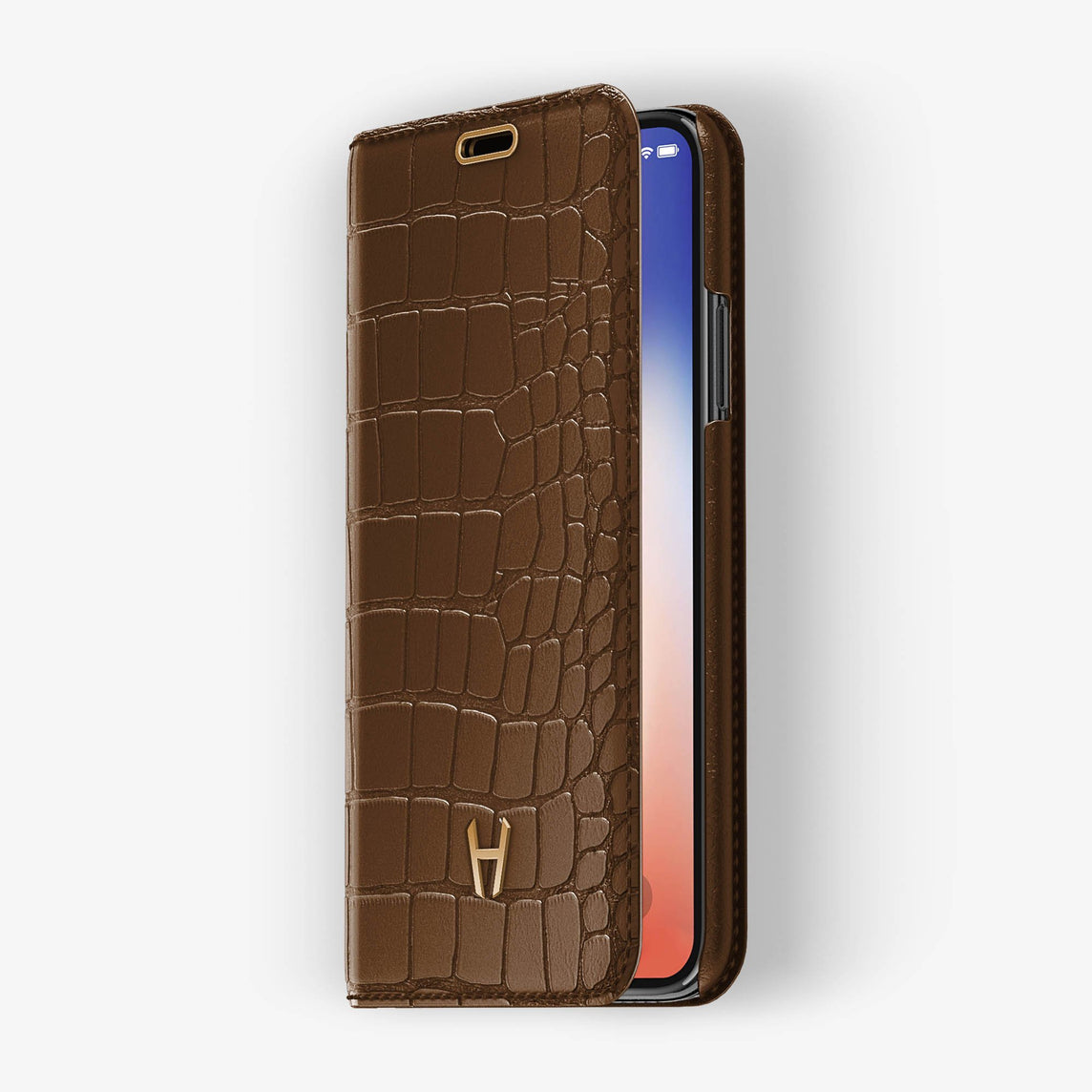 Brown Alligator iPhone Folio Case for iPhone X finishing rose gold - Hadoro Luxury Cases