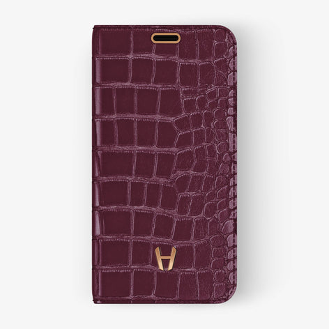 Burgundy Alligator iPhone Folio Case for iPhone X finishing rose gold - Hadoro Luxury Cases