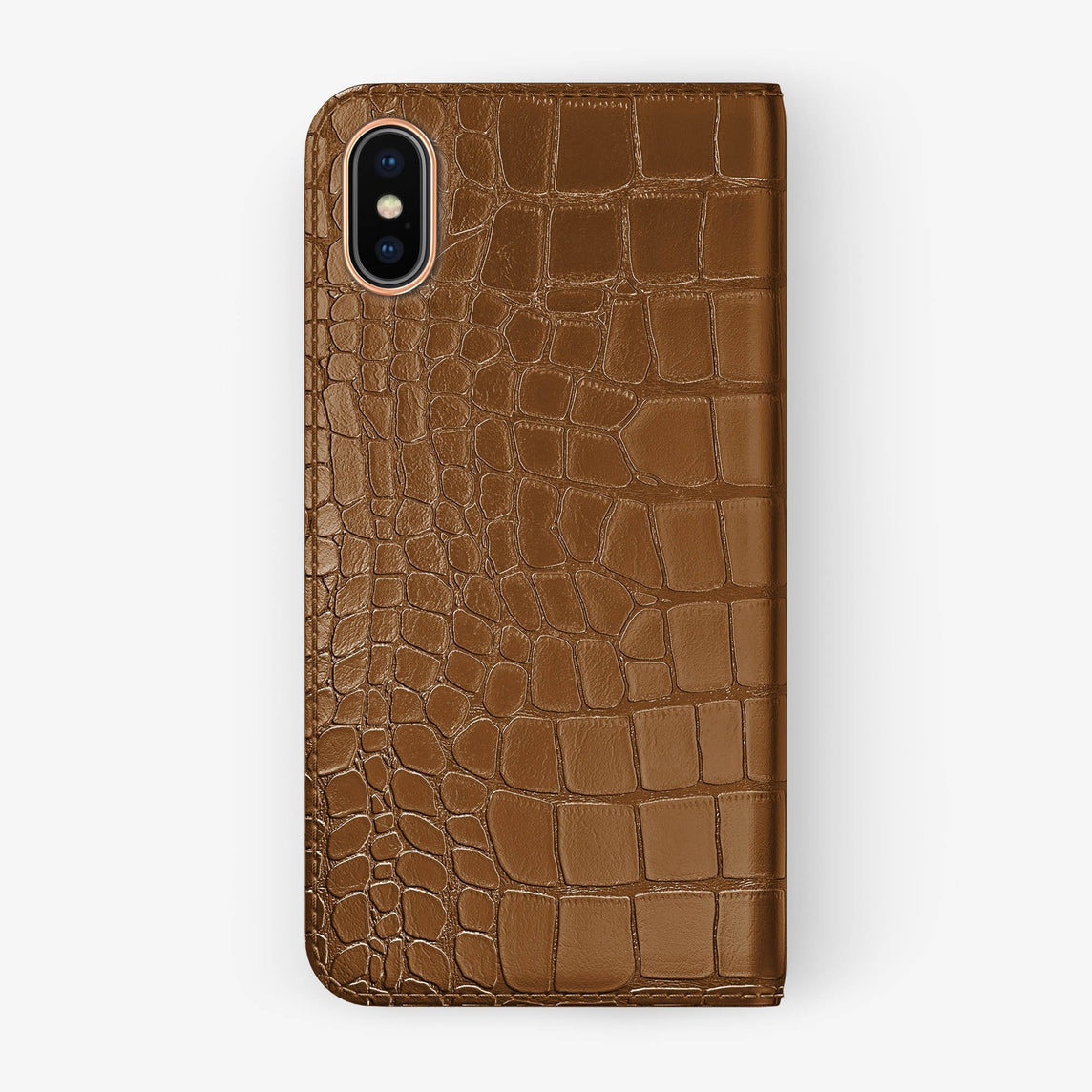 Cognac Alligator iPhone Folio Case for iPhone X finishing rose gold - Hadoro Luxury Cases