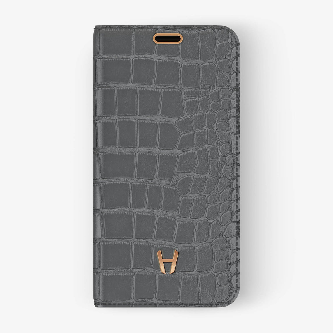 Alligator Folio Case iPhone X/Xs | Grey - Rose Gold without-personalization