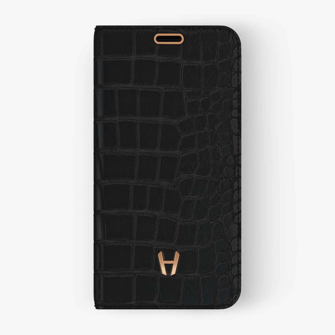 Alligator Folio Case iPhone Xs Max | Phantom Black - Rose Gold without-personalization