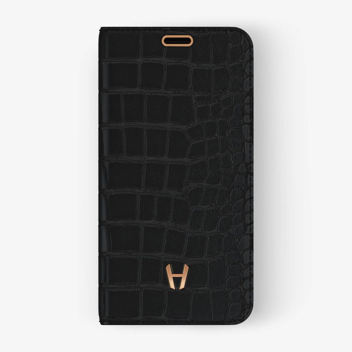 Alligator Folio Case iPhone X/Xs | Phantom Black - Rose Gold without-personalization