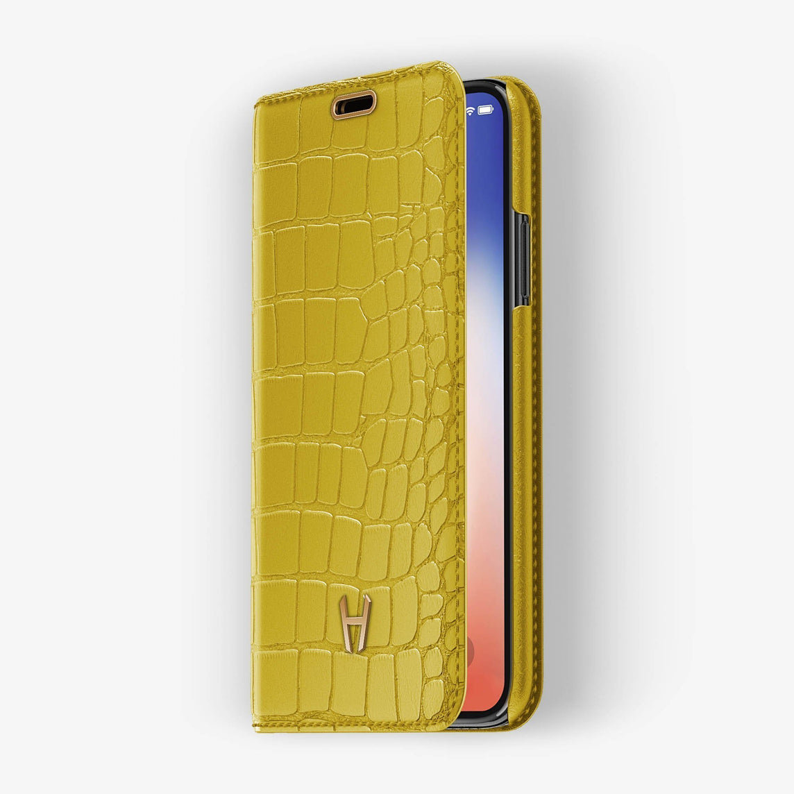 Yellow Alligator iPhone Folio Case for iPhone XS Max finishing rose gold - Hadoro Luxury Cases