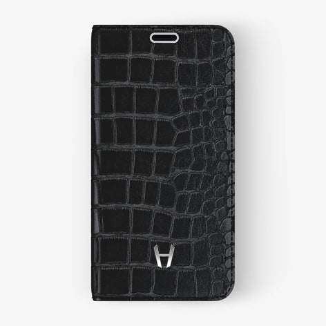 Black Alligator iPhone Folio Case for iPhone X finishing stainless steel - Hadoro Luxury Cases