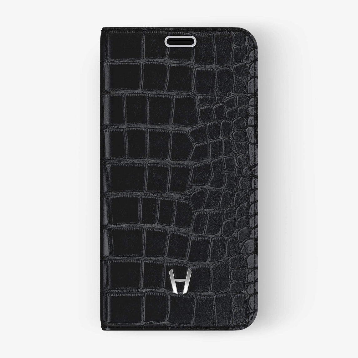 Black Alligator iPhone Folio Case for iPhone XS Max finishing stainless steel - Hadoro Luxury Cases