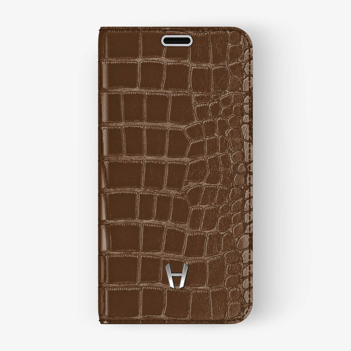 Brown Alligator iPhone Folio Case for iPhone XS Max finishing stainless steel - Hadoro Luxury Cases