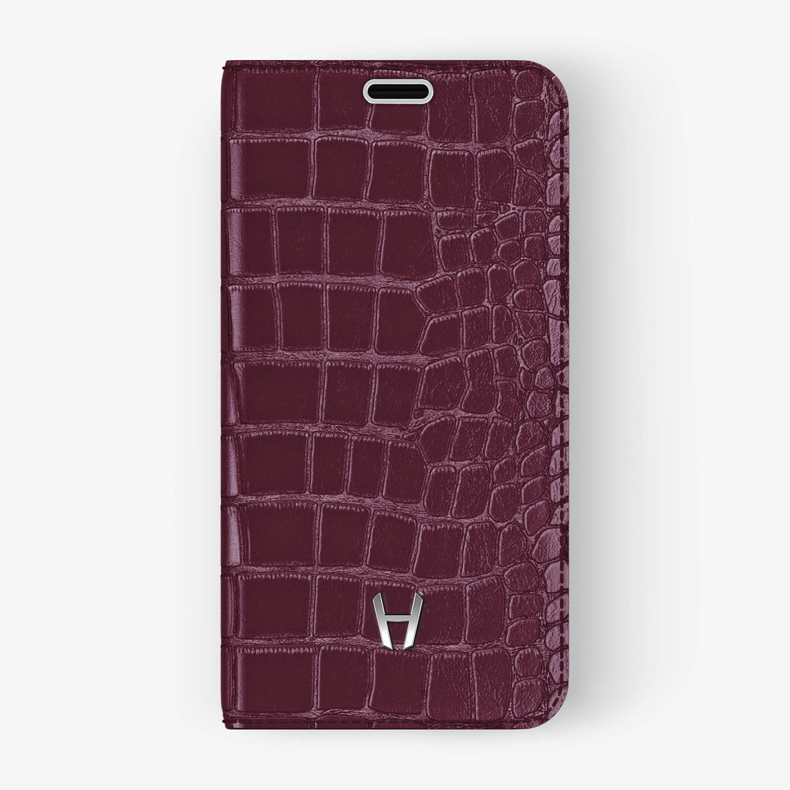Burgundy Alligator iPhone Folio Case for iPhone XS Max finishing stainless steel - Hadoro Luxury Cases