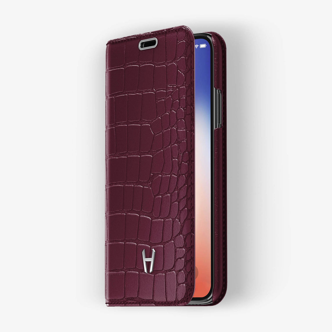 Burgundy Alligator iPhone Folio Case for iPhone X finishing stainless steel - Hadoro Luxury Cases