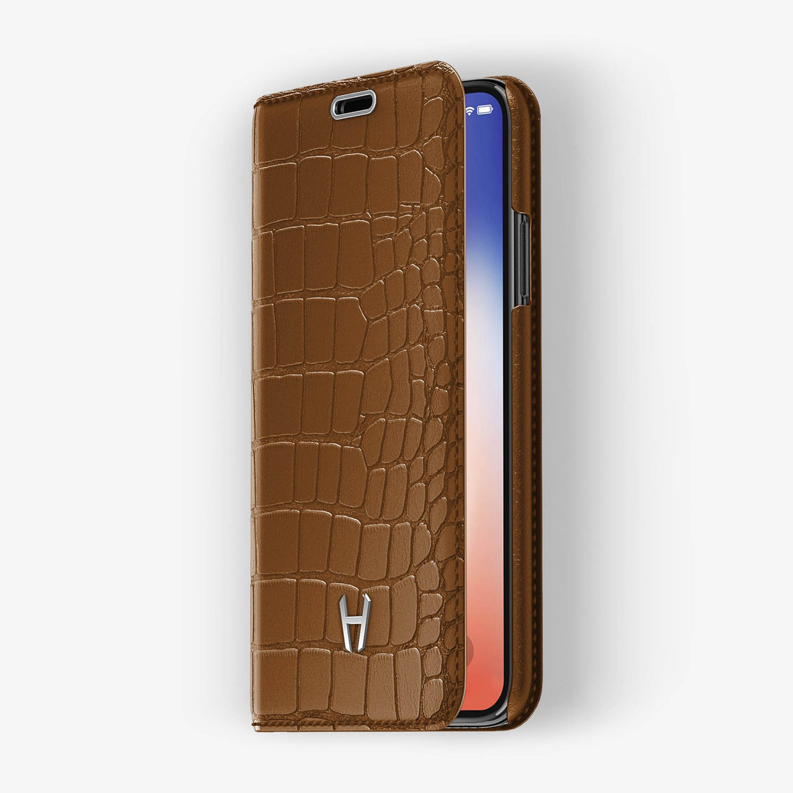 Alligator Folio Case iPhone X/Xs | Cognac - Stainless Steel without-personalization