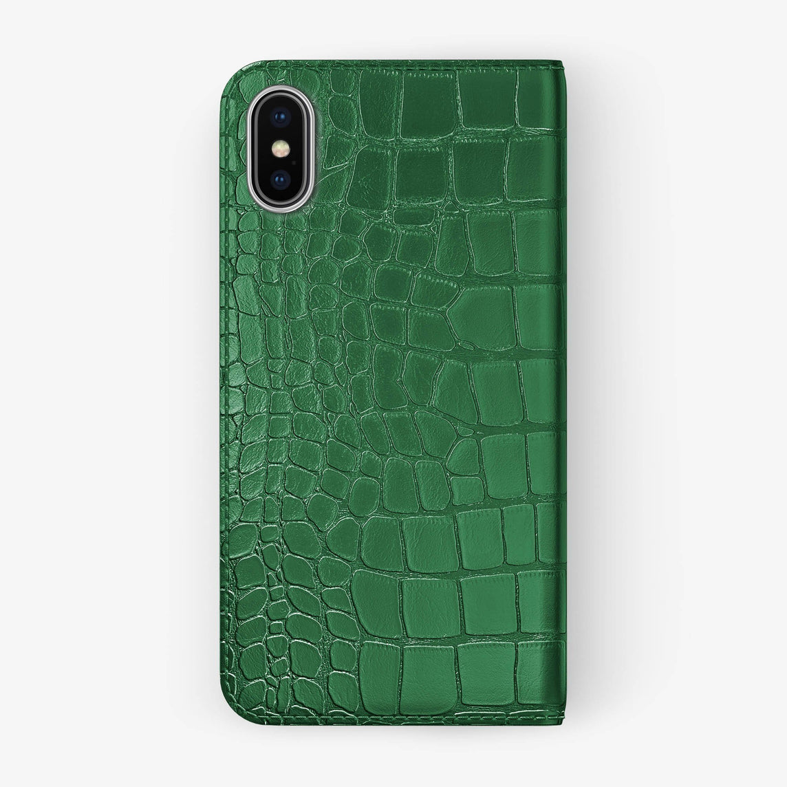 Alligator Folio Case iPhone Xs Max | Green - Stainless Steel without-personalization