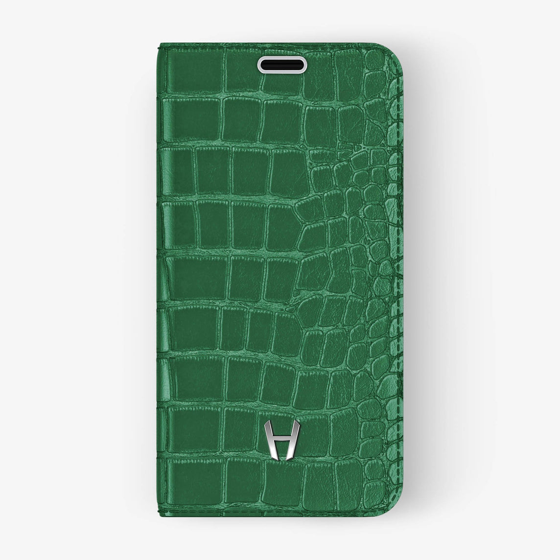 Alligator Folio Case iPhone X/Xs | Green - Stainless Steel without-personalization