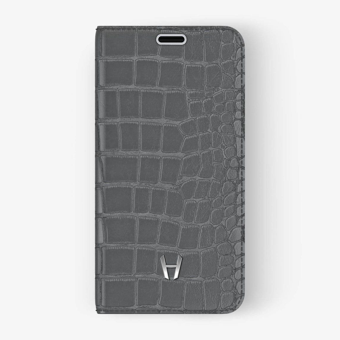 Grey Alligator iPhone Folio Case for iPhone X finishing stainless steel - Hadoro Luxury Cases