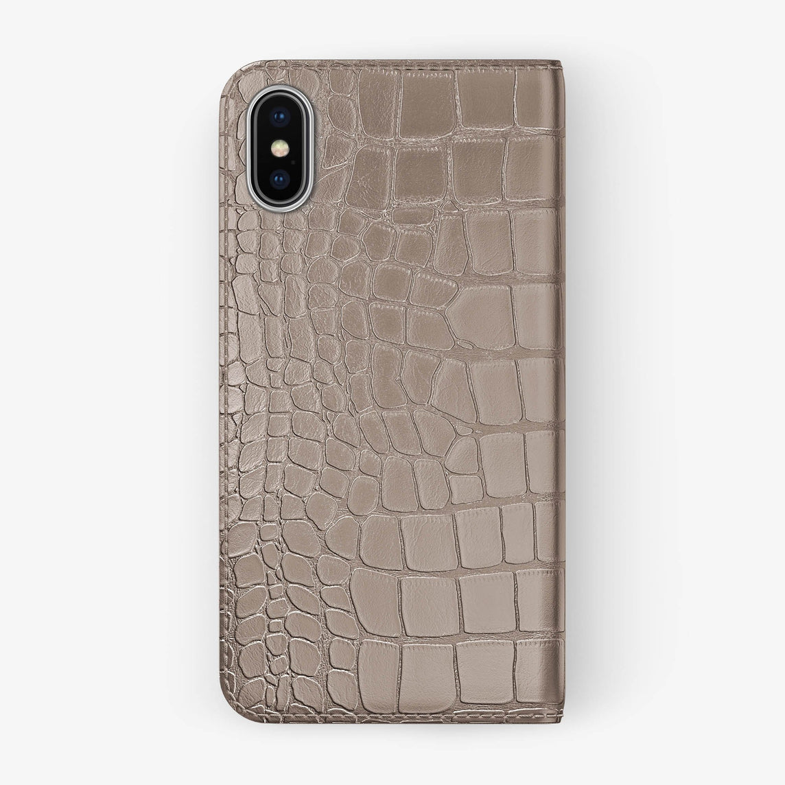 Alligator Folio Case iPhone X/Xs | Latte - Stainless Steel without-personalization