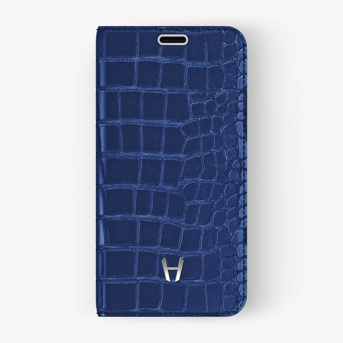 Alligator Folio Case iPhone Xs Max | Navy Blue - Stainless Steel without-personalization
