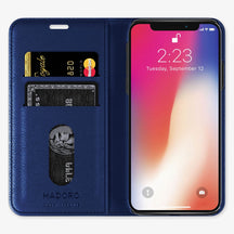 Navy Blue Alligator iPhone Folio Case for iPhone X finishing stainless steel - Hadoro Luxury Cases