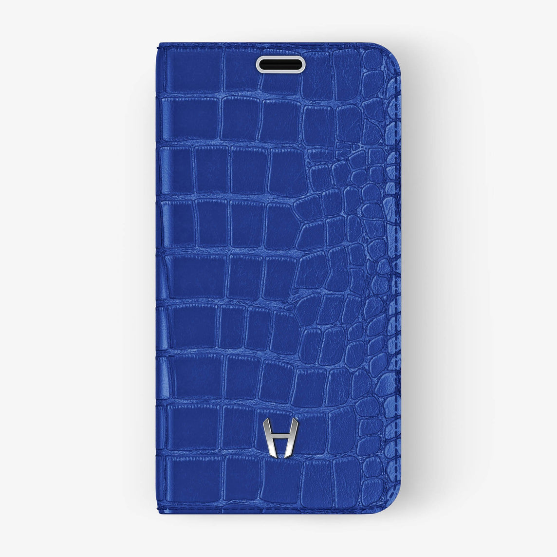 Peony Blue Alligator iPhone Folio Case for iPhone X finishing stainless steel - Hadoro Luxury Cases