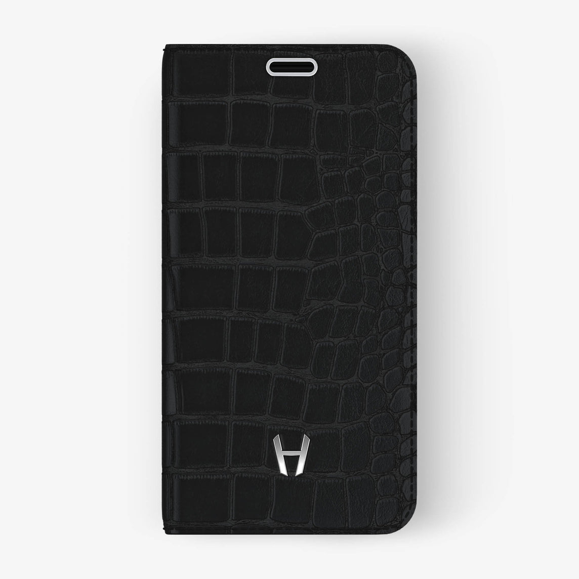 Alligator Folio Case iPhone X/Xs | Phantom Black - Stainless Steel without-personalization