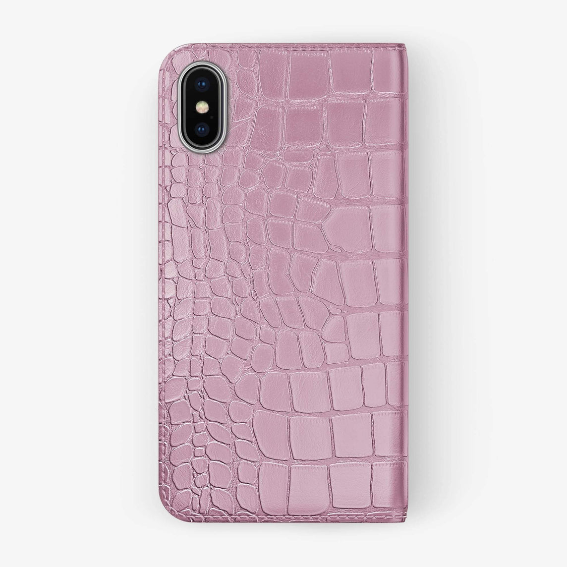 Pink Alligator iPhone Folio Case for iPhone XS Max finishing stainless steel - Hadoro Luxury Cases