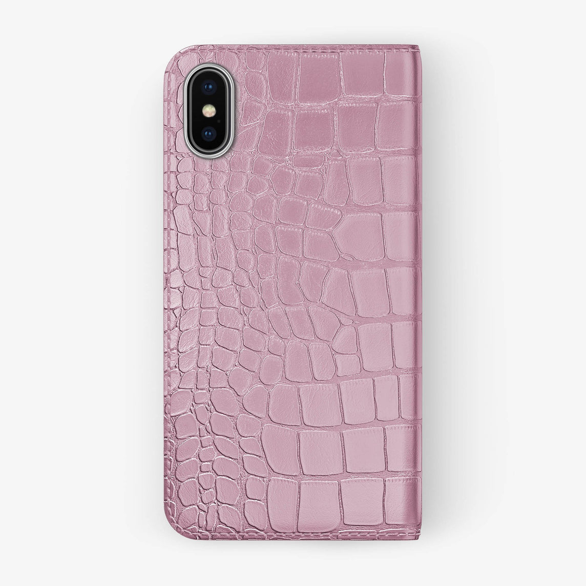 Pink Alligator iPhone Folio Case for iPhone X finishing stainless steel - Hadoro Luxury Cases