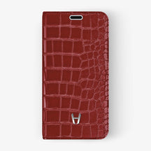 Red Alligator iPhone Folio Case for iPhone XS Max finishing stainless steel - Hadoro Luxury Cases