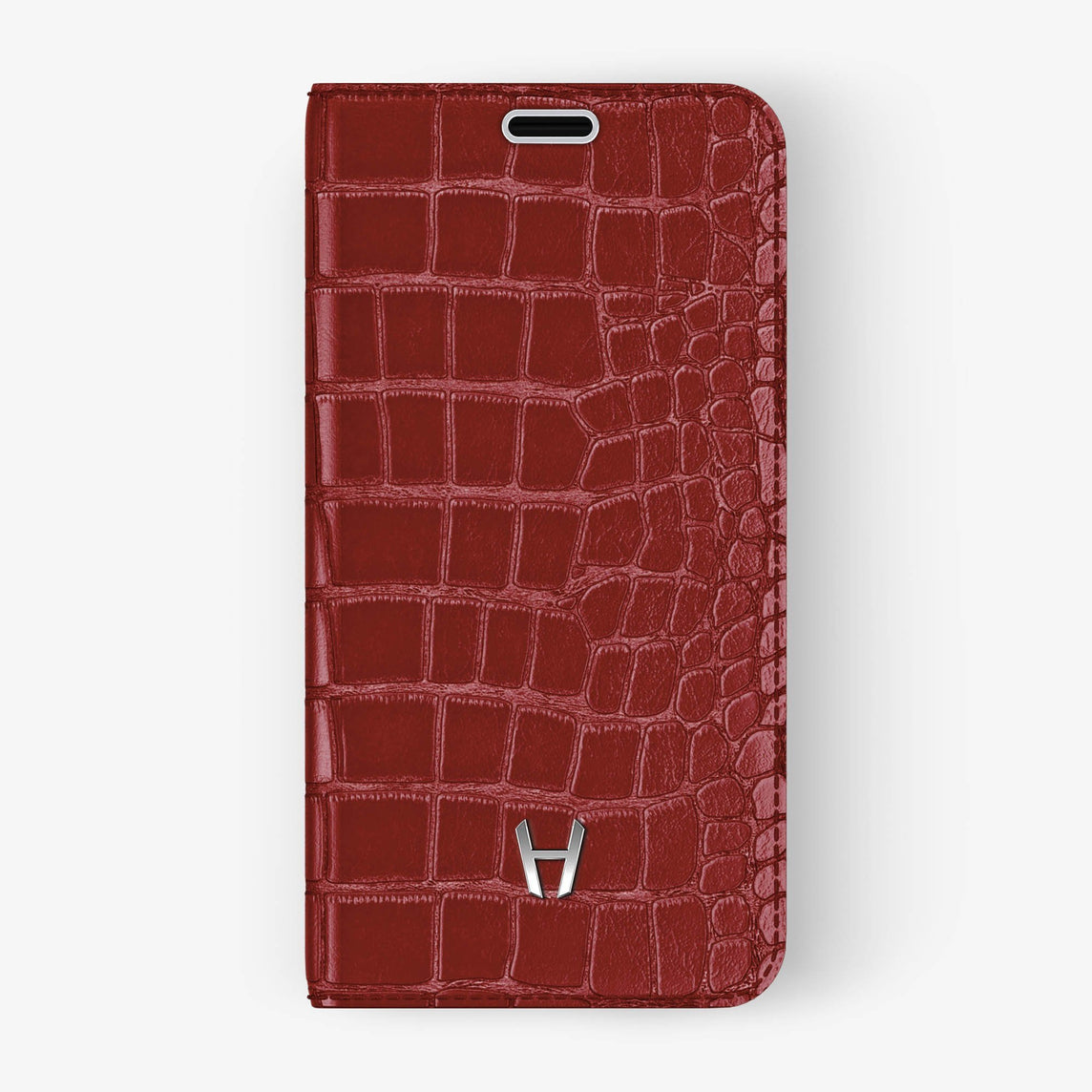 Red Alligator iPhone Folio Case for iPhone X finishing stainless steel - Hadoro Luxury Cases