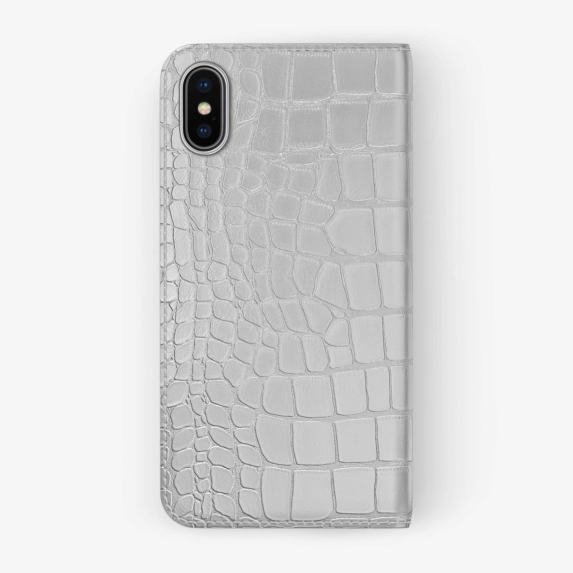 White Alligator iPhone Folio Case for iPhone XS Max finishing stainless steel - Hadoro Luxury Cases