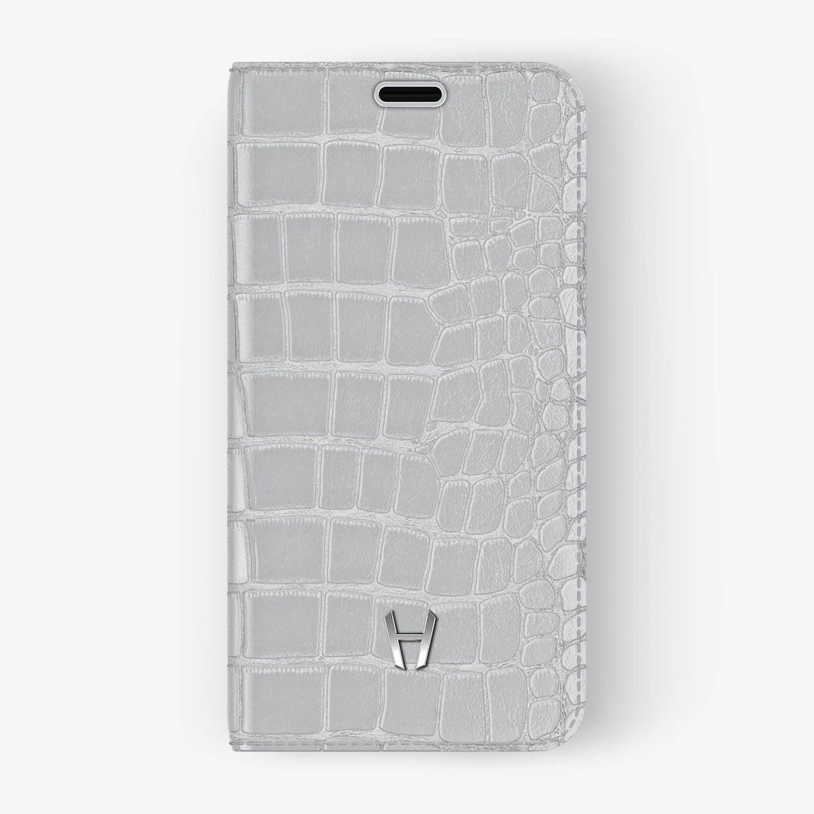 White Alligator iPhone Folio Case for iPhone X finishing stainless steel - Hadoro Luxury Cases