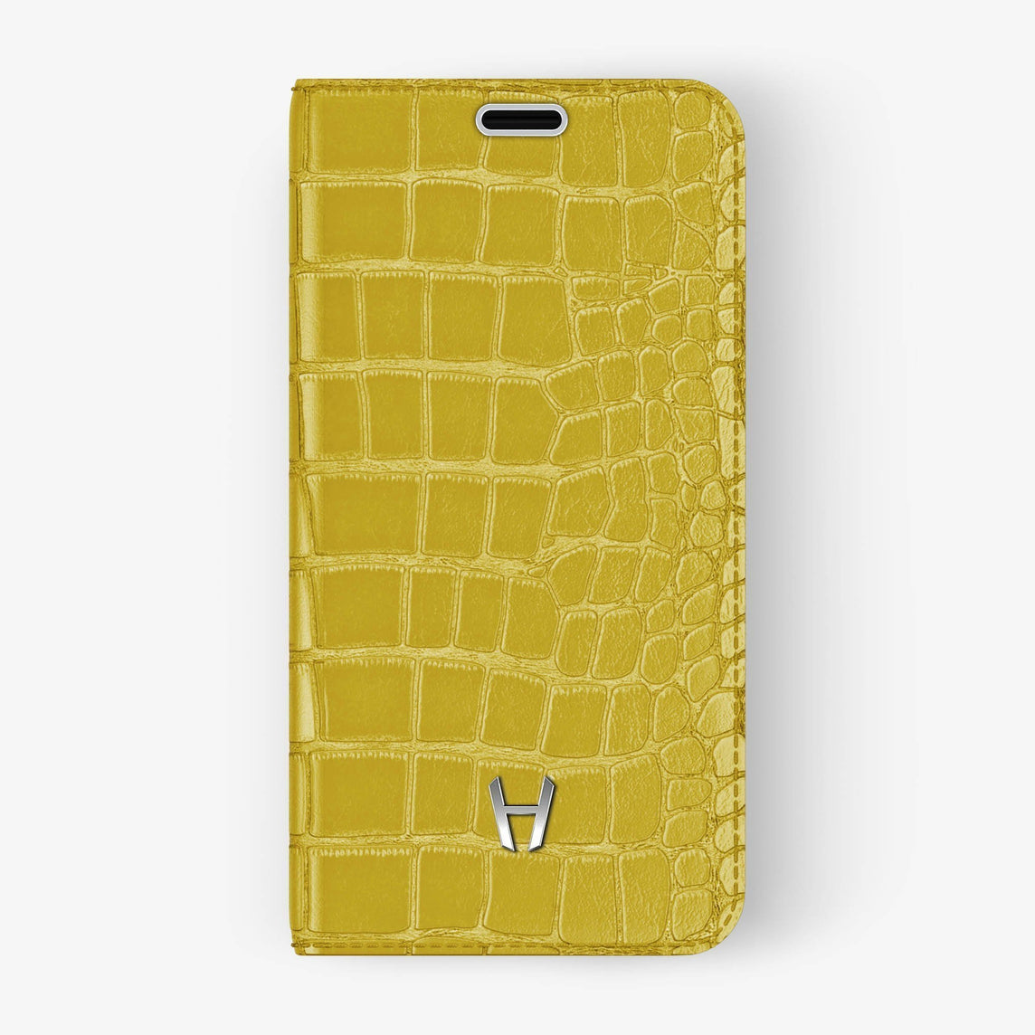 Alligator Folio Case iPhone Xs Max | Yellow - Stainless Steel without-personalization