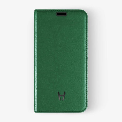 Green Calfskin iPhone Folio Case for iPhone X finishing black - Hadoro Luxury Cases - img1