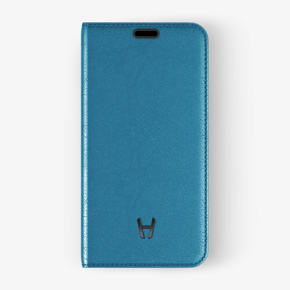 Calfskin Folio Case iPhone Xs Max | Peony Blue - Black without-personalization