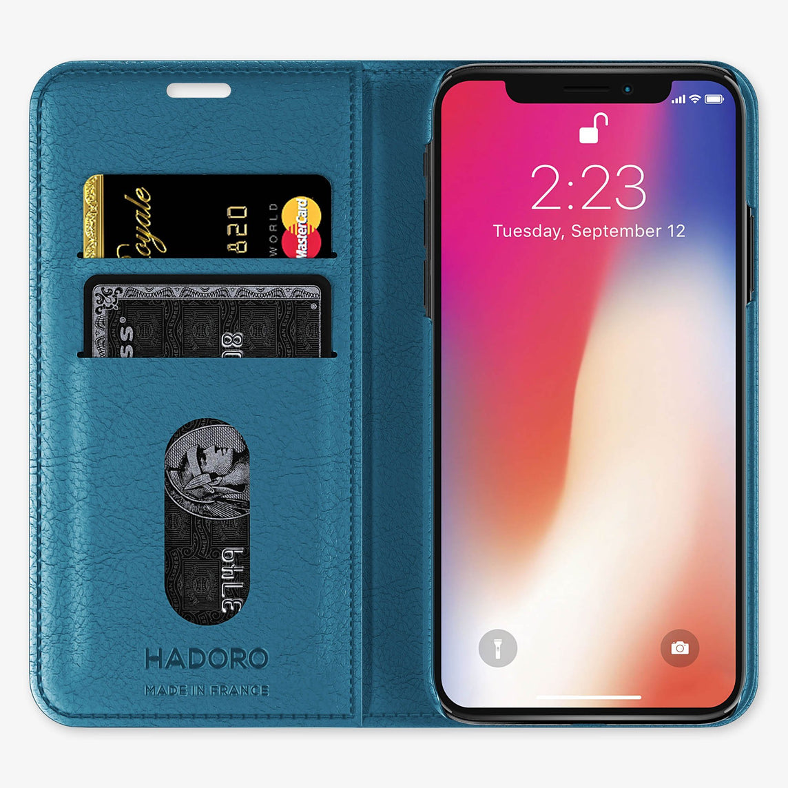 Calfskin Folio Case iPhone X/Xs | Peony Blue - Black without-personalization