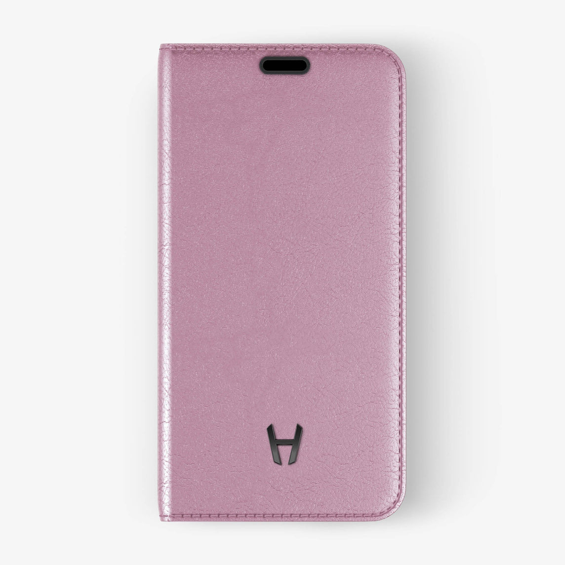 Pink Calfskin iPhone Folio Case for iPhone X finishing black - Hadoro Luxury Cases - img1