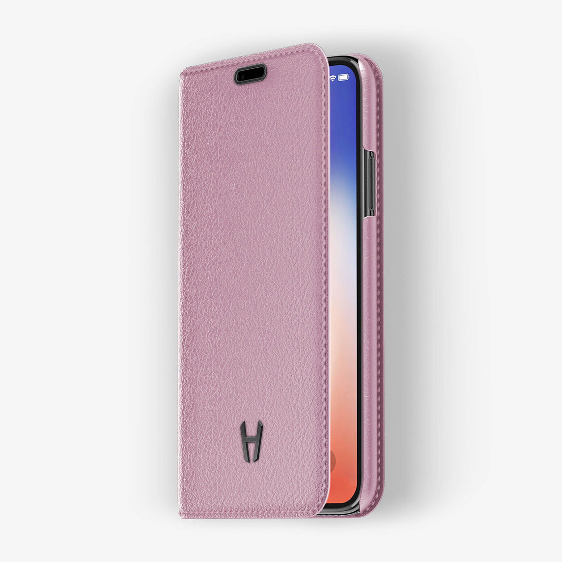 Pink Calfskin iPhone Folio Case for iPhone X finishing black - Hadoro Luxury Cases - img2