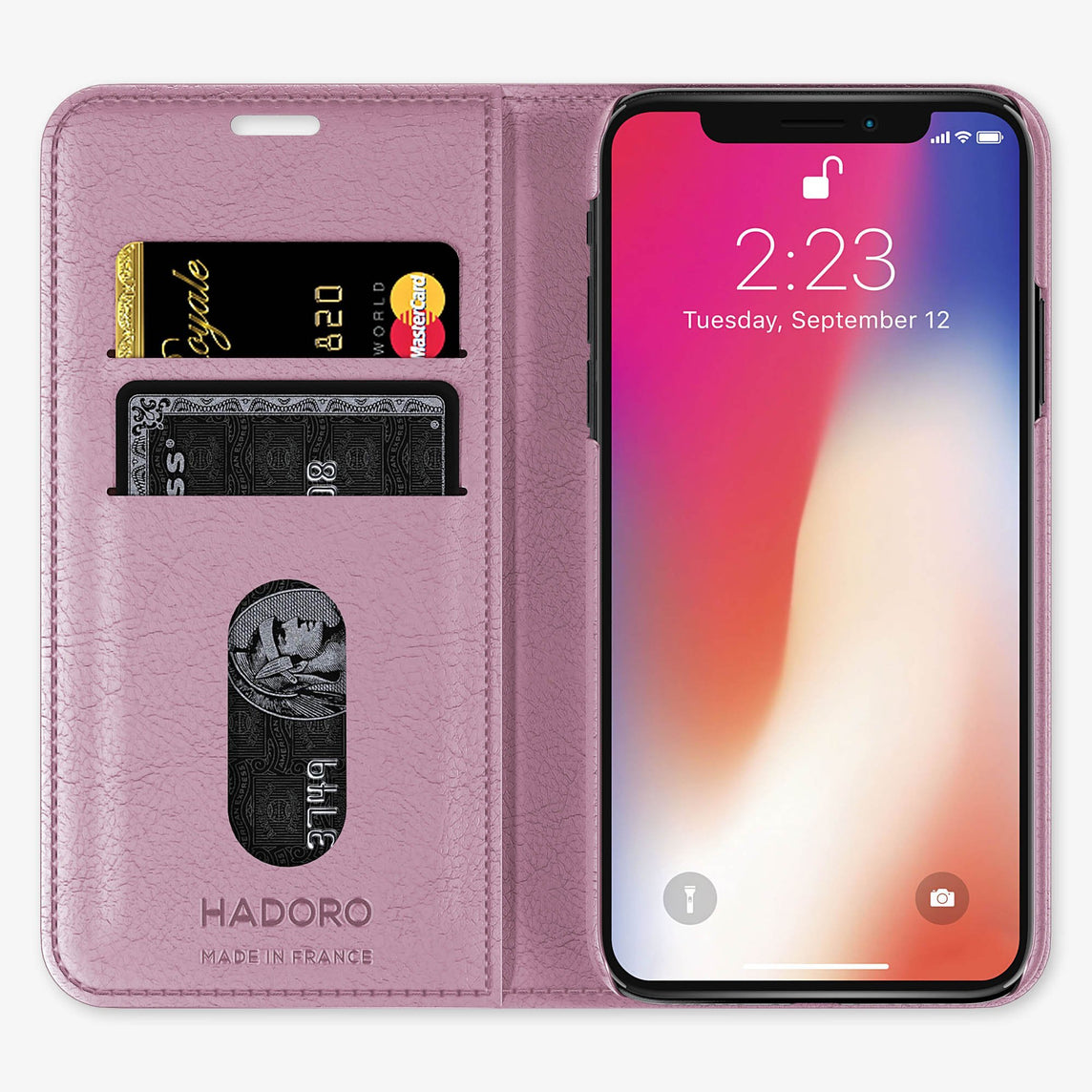 Calfskin Folio Case iPhone X/Xs | Pink - Black without-personalization